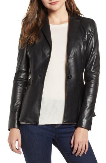 LAMARQUE Viola Leather Jacket in Black