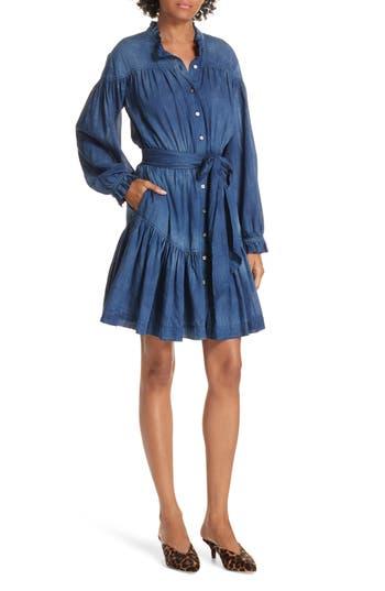 La Vie Rebecca Taylor Tissue Denim Ruffle Minidress, Blue