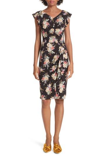Rebecca Taylor Bouquet Cap Sleeve Ruched Dress, Black