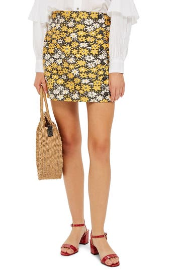 Topshop Daisy Jacquard Miniskirt, US (fits like 0) - Yellow