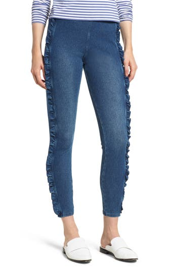 Lysse Ruffle Denim Ankle Leggings, Blue