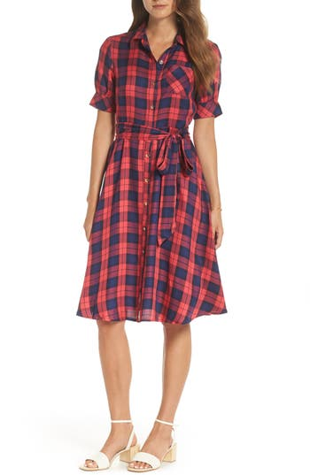 1940s & 1950s Style Shirt Dresses, Shirtwaist Dresses Womens 1901 Plaid Shirtdress Size 14 - Red $77.40 AT vintagedancer.com
