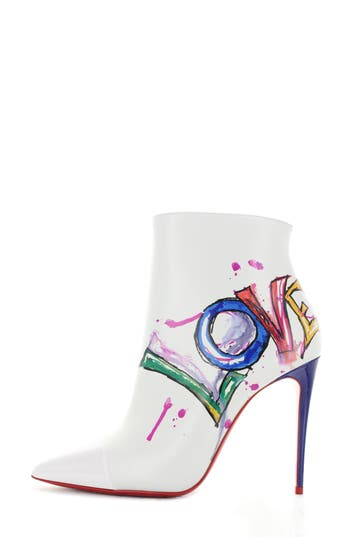 Christian Louboutin Love Pointy Toe Bootie, White