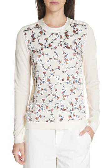 Tory Burch Marcella Floral Merino Wool Sweater, Ivory