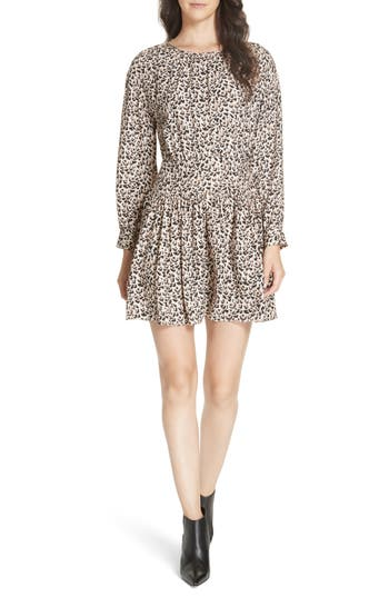 Rebecca Taylor Leopard Print Silk Dress, Beige