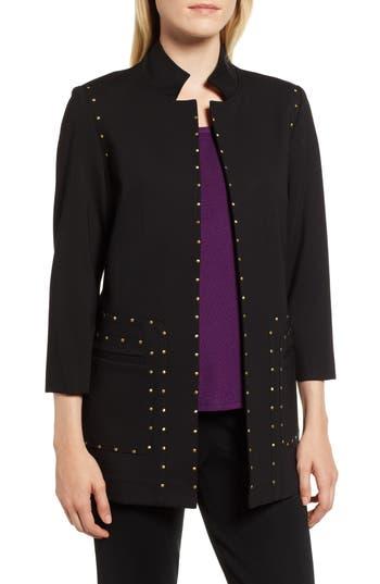 Ming Wang Studded Ponte Jacket, Black