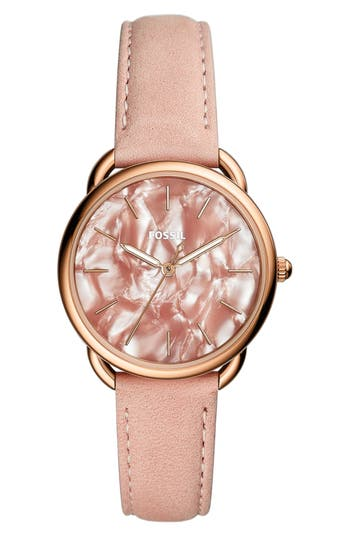 Tailor Leather Strap Watch, 35Mm, Pink/ Rose Gold