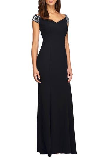 1950s Formal Dresses & Evening Gowns Womens Alex Evenings Embellished Stretch Gown Size 12 - Black $229.00 AT vintagedancer.com