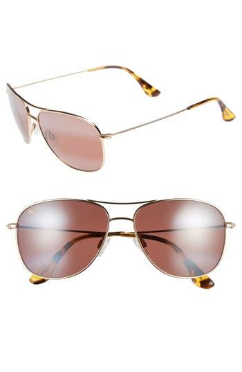 Maui Jim Cliff House 5m Polarizedplus2 Metal Aviator Sunglasses - Gold/ Maui Rose