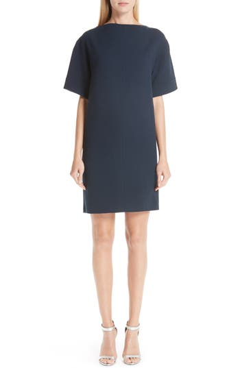 Oscar De La Renta Bow Back Stretch Wool Shift Dress, Blue