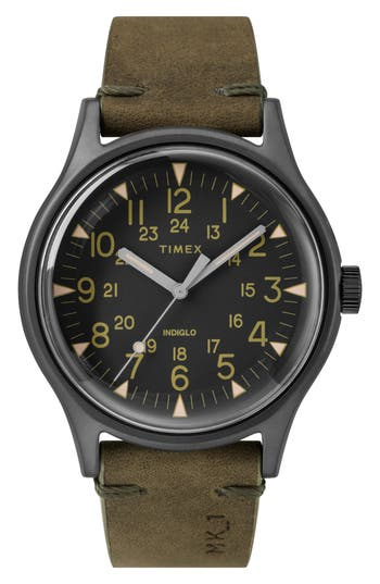 Timex Mk1 Leather Strap Watch, 40Mm