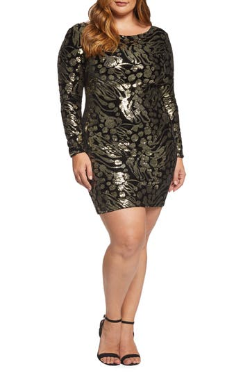 60s 70s Plus Size Dresses, Clothing, Costumes Plus Size Womens Dress The Population Lola Sequin  Velvet Minidress $216.00 AT vintagedancer.com