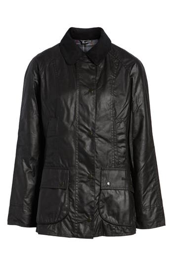 Barbour Beadnell Waxed Cotton Jacket, US / 8 UK - Black
