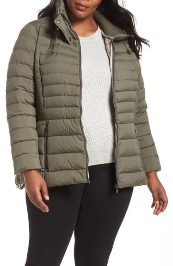 Plus Size Bernardo Micro Touch Quilted Jacket, Grey
