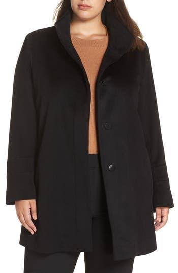 Plus Size Fleurette Placket Front Wool Car Coat, Black
