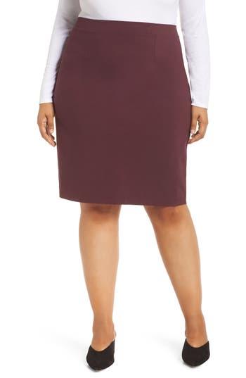 Plus Size Halogen Ponte Pencil Skirt, 8 (similar to 16W) - Burgundy