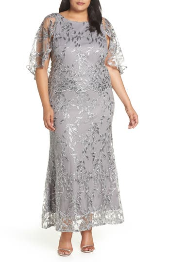 1930s Art Deco Plus Size Dresses | Tea Dresses, Party Dresses Plus Size Womens Brianna Sequin Embroidered Capelet Gown Size 22W - Metallic $188.00 AT vintagedancer.com