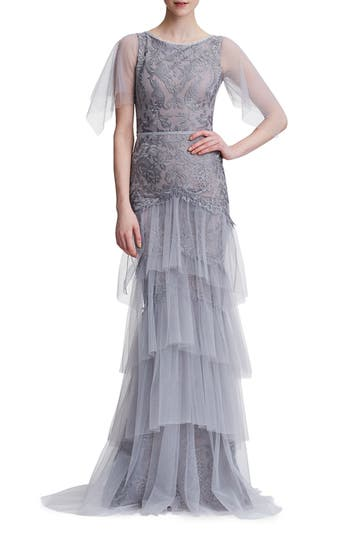 Edwardian Evening Gowns | Victorian Evening Dresses Womens Marchesa Notte Embroidered Tiered Tulle Gown $1,195.00 AT vintagedancer.com