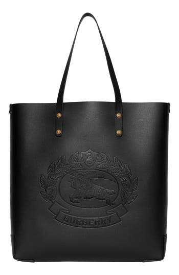 Burberry Embossed Crest Large Leather Tote - Black