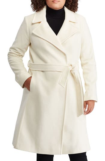 Plus Size Lauren Ralph Lauren Wool Blend Wrap Coat, Ivory