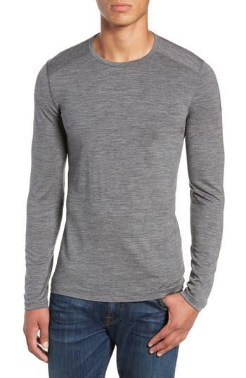 Icebreaker Oasis Long Sleeve Merino Wool Base Layer T-Shirt, Grey