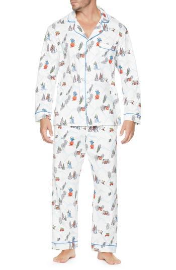BEDHEAD Classic Pajamas in White/ Blue Multi