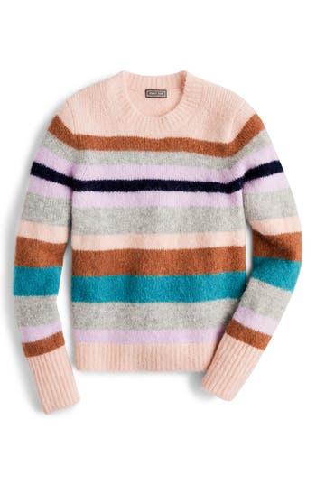 J.crew Sur Point Stripe Alpaca & Merino Wool Blend Sweater, Pink