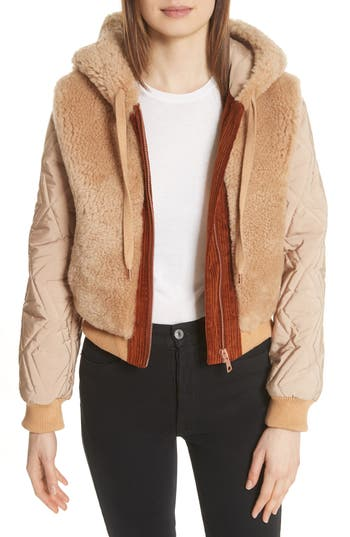 See By Chloe Genuine Shearling Mixed Media Bomber Jacket, 4 FR - Brown