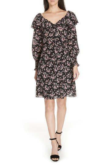 Rebecca Taylor Tilda Silk Ruffle Dress, Black