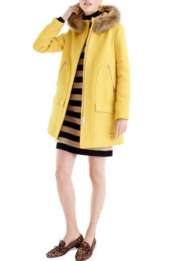 Plus Size J.crew Chateau Stadium Cloth Parka With Faux Fur Trim, 8 (similar to 16W) - Yellow