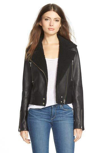 Women's Paige Denim 'Rooney' Leather Jacket With Faux Shearling Collar