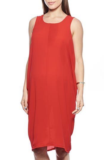 Women's Imanimo Cocoon Maternity Dress, Size X-Small - Red