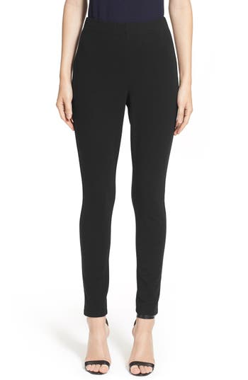St. John Collection Ponte Knit Crop Leggings, Size Petite - Black