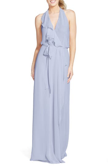 Women's Nouvelle Amsale 'Erica' Ruffle Chiffon Halter Neck Wrap Gown, Size Small - Blue
