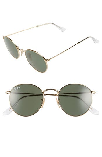 Ray-Ban 50Mm Round Sunglasses - Gold/ Green