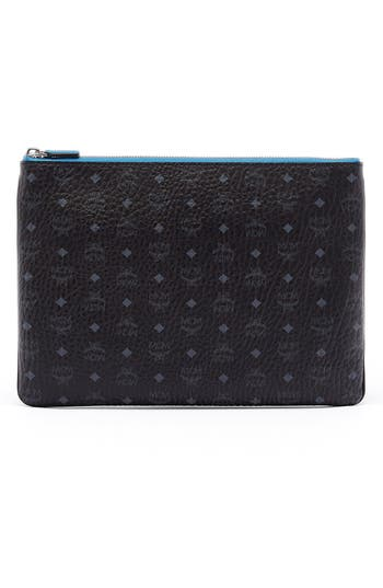 Mcm 'Heritage' Convertible Coated Canvas Zip Pouch - Black