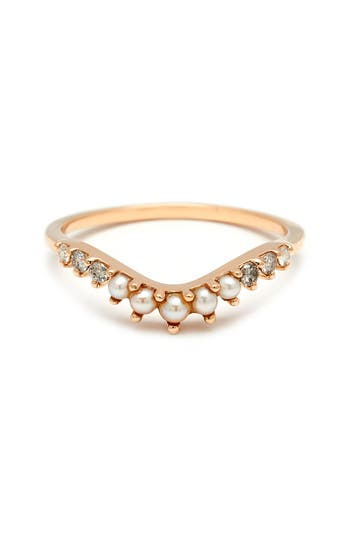 Women's Anna Sheffield 'Tiara Curve' Diamond & Seed Pearl Ring