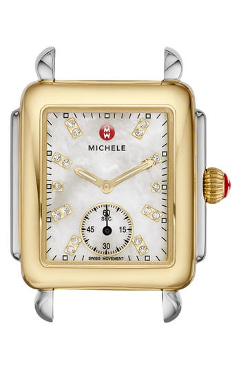 Women's Michele Deco 16 Diamond Dial Two-Tone Watch Case, 29Mm X 31Mm