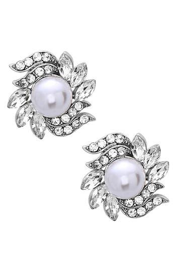 Women's Nina Crystal & Faux Pearl Floral Stud Earrings