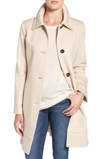 Petite Women's Fleurette Fit & Flare Wool Coat, Size 10P - White