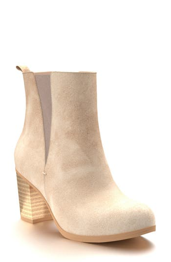 Shoes Of Prey Block Heel Chelsea Boot B - Beige