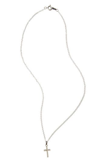 Infant Girl's Silver & Diamond Cross Pendant