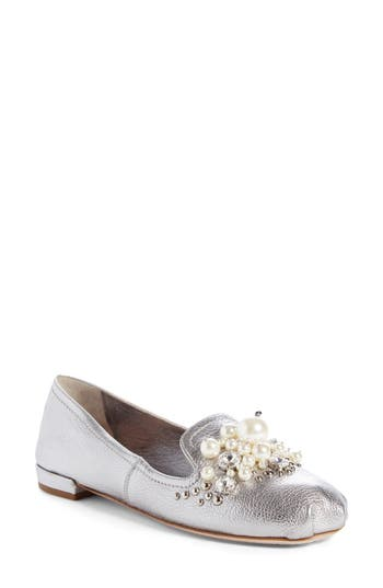 Women's Miu Miu Embellished Loafer, Size 7US / 37EU - Metallic