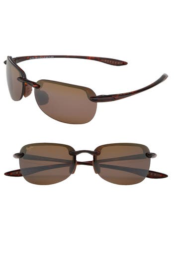 Women's Maui Jim Sandy Beach 55Mm Polarizedplus2 Semi Rimless Sunglasses - Black
