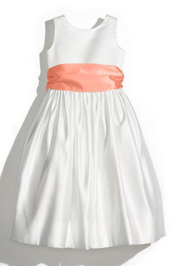 Girl's Us Angels Sleeveless Satin Dress With Contrast Sash, Size 4 - Coral