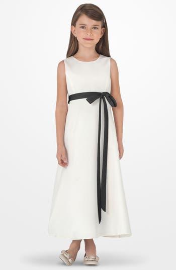 Toddler Girl's Us Angels Sleeveless Satin Dress, Size 4T - Black