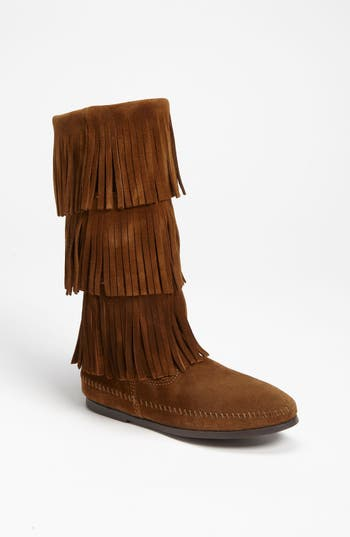 Women's Minnetonka 3-Layer Fringe Boot, Size 5 M - Brown