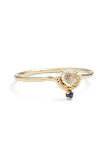 Women's Wwake Nestled Moonstone & Sapphire Ring