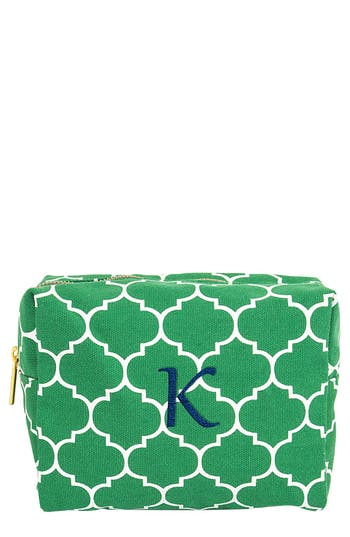 Cathy's Concepts Monogram Cosmetics Case, Size One Size - Green
