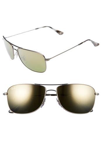 Ray-Ban 5m Chromance Aviator Sunglasses - Matte Gunmetal/green Mirror